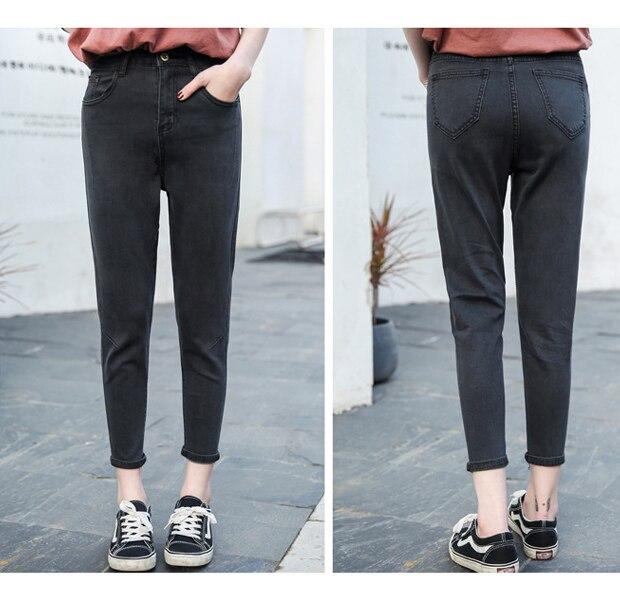 Nouveauté Femmes Jeans décontractés Taille Haute Longueur Cheville Jeans Vintage Gris Maman Jeans