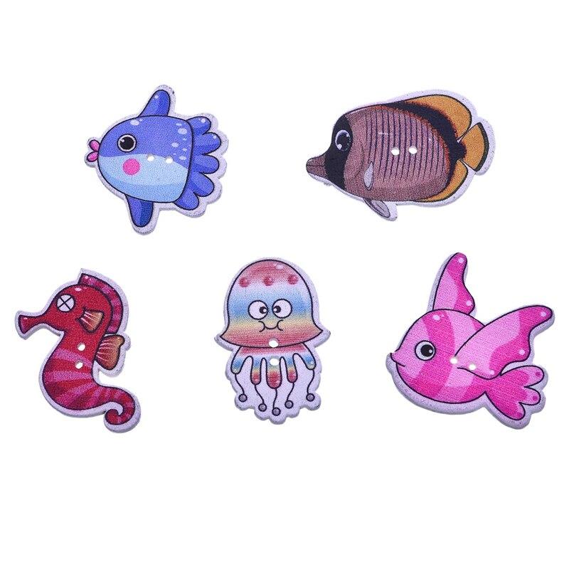 50 unids Botones De Madera Animal Scrapbooking Ropa Botones Decorativos para DIY Artesanía accesorios de costura Mariposa Búho Botones