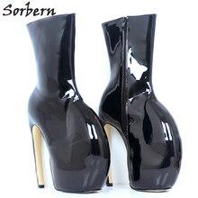 Sorbern Lady GAGA แปลกรองเท้าส้นสูง 18 ซม.ข้อเท้ารองเท้าสำหรับรองเท้าผู้หญิงรองเท้าแบนรองเท้าผู้หญิงผู้ใหญ่ Booties ที่กำหนดเองสีสตรีรองเท้าสีดำ