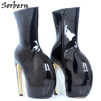 Sorbern Lady Gaga Strange Heels 18Cm Ankle Boots For Women Shoes Flat Boots Women Adult Booties Custom Color Womens Black Boots