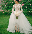 Wedding Dress Lace 2017 White Long Sleeve Ball Gown 2 Two Piece Short Front Long Back Zipper High Neck Gowns Lace  Dresses