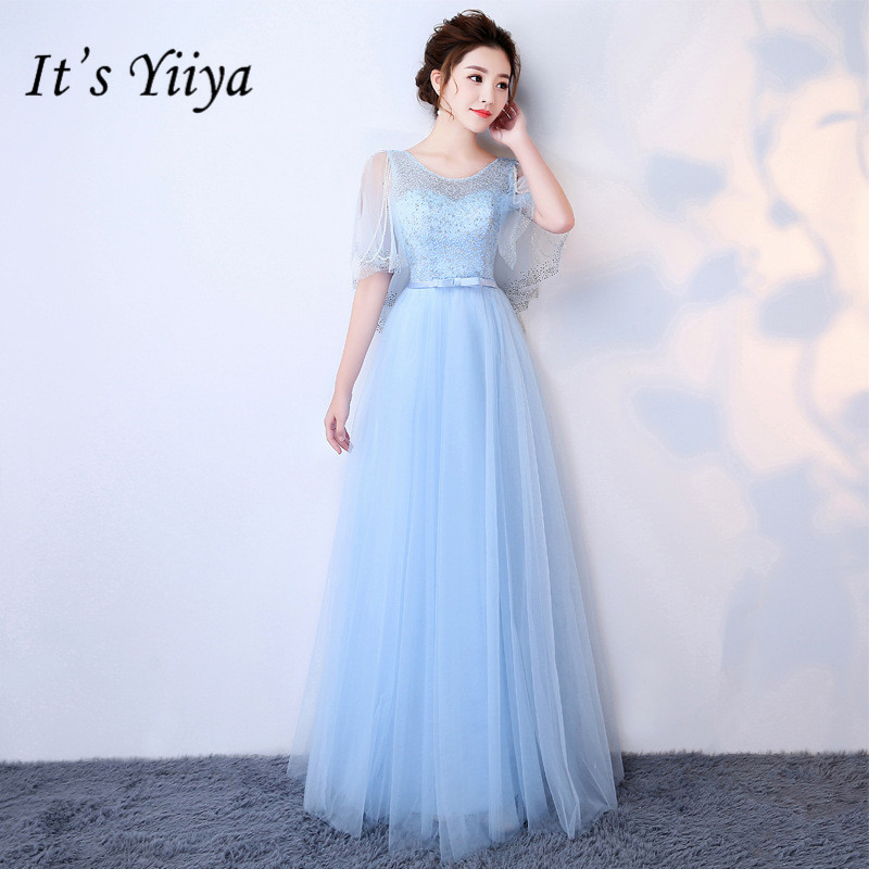 It's YiiYa Blue   Bridesmaid     Dresses   Elegant O-neck Flare Sleeve Beading Lace Ankle-length Slim A-line Frocks H257