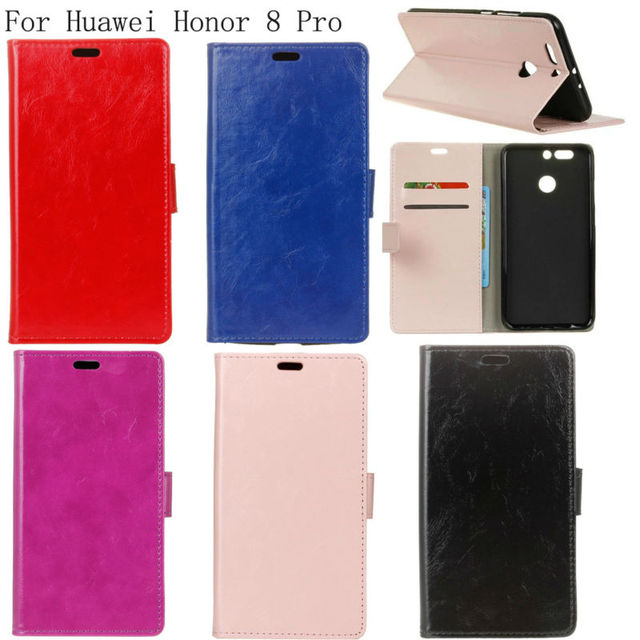 PIERVES Crazy Horse Series Luxury high quality PU leather case For Huawei Honor 8 Pro DUK-L09 Bag Cover Shield Case