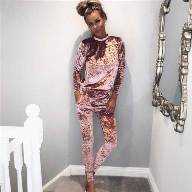 2016 Otoño Invierno Moda 2 Unidades Set Chándal Para Las Mujeres Y Los Pantalones Del Chándal de Terciopelo 5 Colores Brillantes Trajes de mujeres