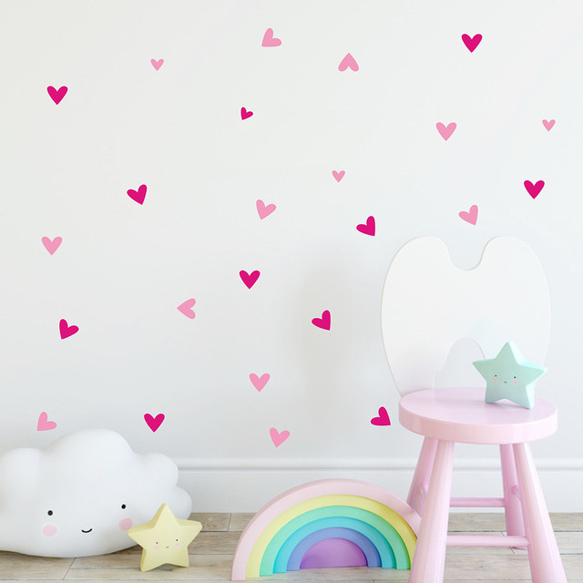 Removable Colorful Love Hearts Wall Stickers 22 pcs Set
