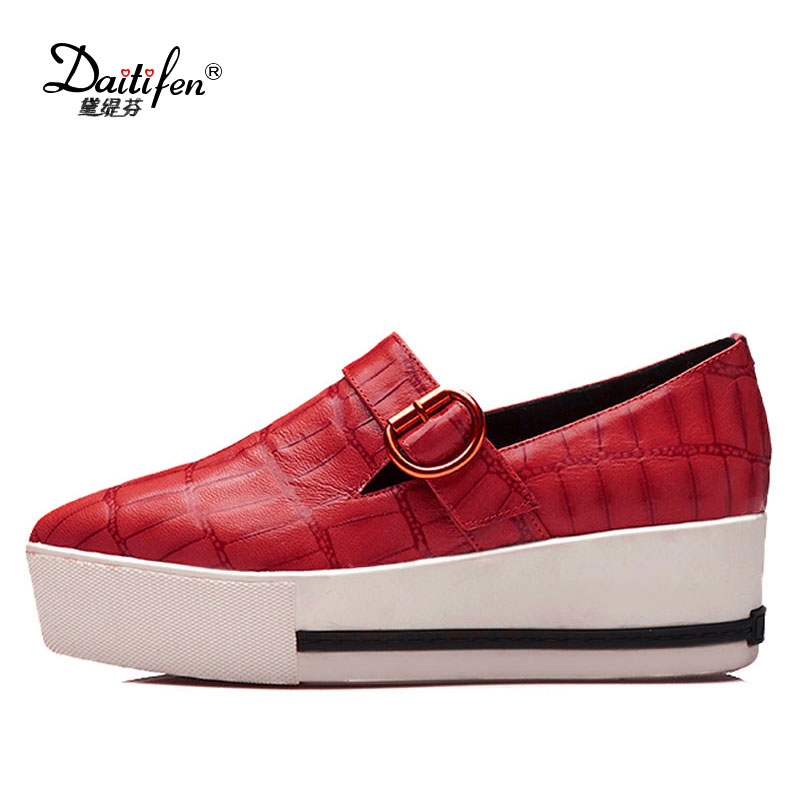 Daitifen Spring Autumn Genuine Leather Flat shoes woman Pointed toe platform fashion casual slip-on women flats red morazora spring autumn genuine leather flat shoes woman round toe platform fashion casual slip on women flats gold
