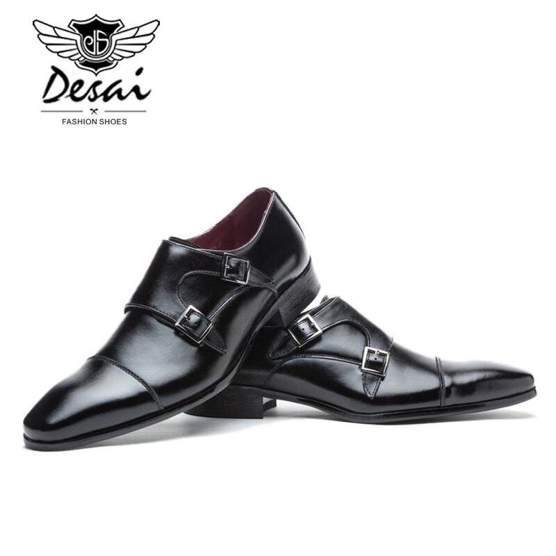 Boucle En Zapatos Moine Sangles Noir Chaussures Luxe Hombre Robe Hommes Double D'affaires Formelles brown De Cuir Mariage Marque Black Véritable YgwqOO
