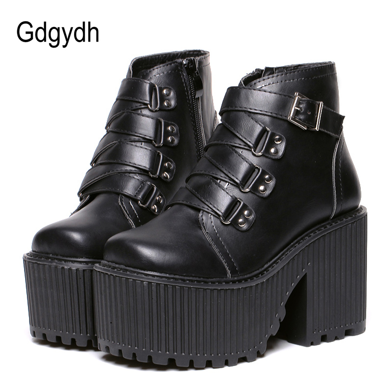 Gdgydh Leather Round Toe High Heel Boots Women Shoes Buckle Rubber Sole Black Platform Shoes Autumn