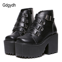 Punk Shoes Buckle Ankle-Boots Rubber-Sole High-Heel Gdgydh Black Cool Platform Round-Toe