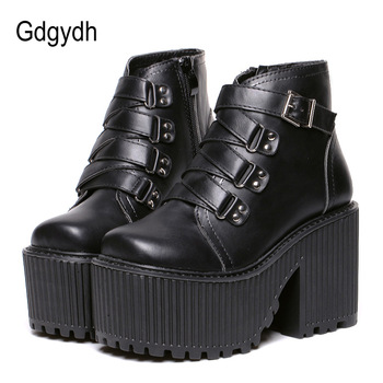 Gdgydh Leather Round Toe High Heel Boots Women Shoes Buckle Rubber Sole Black Platform Shoes Autumn Ankle Boots Punk Shoes Cool gdgydh spring luxury shoes women boots designer thick heel platform female ankle boots sexy buckle comfortable round toe boots