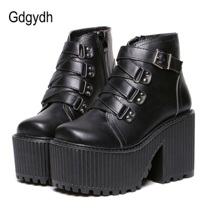 Gdgydh Leather Round Toe High