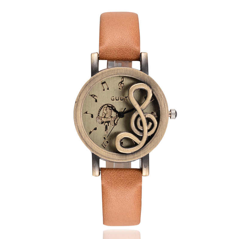 Luxfacigoo Women Watches Elegant Musical Note Carving Decorate Leather Strap Wristwatch Ladies Casual Quartz Watch TT@88