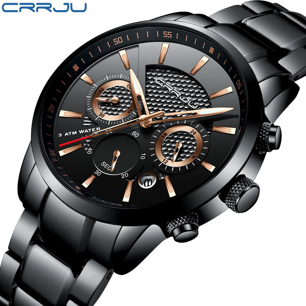 Luxury Brand CRRJU Men Watch Casual military Sport Watch Stainless Quartz Wrist Watch Men Business watch Relogio Masculino Clock crrju men black stainless steel band luxury quartz clock male classic business calendar waterproof wrist watch relogio masculino
