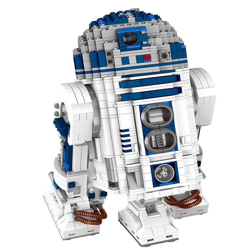 2127pcs Diy Genuine Star Series The R2-D2 Robot Model Building Blocks Compatible With Legoingly Bricks Toys Gift For Children wange mechanical application of the crown gear model building blocks for children the pulley scientific learning education toys