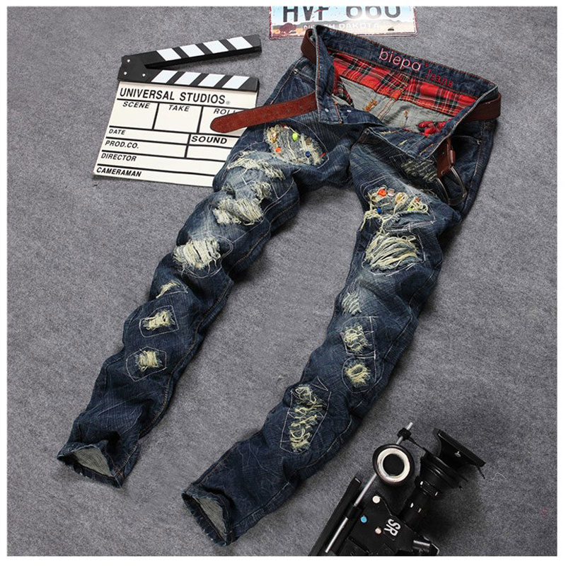 New Personality Mens Hole Rivet Denim Jeans Brand Straight Slim Jeans Mens Beggar Patched Jeans Pants Casual Pants 30-38