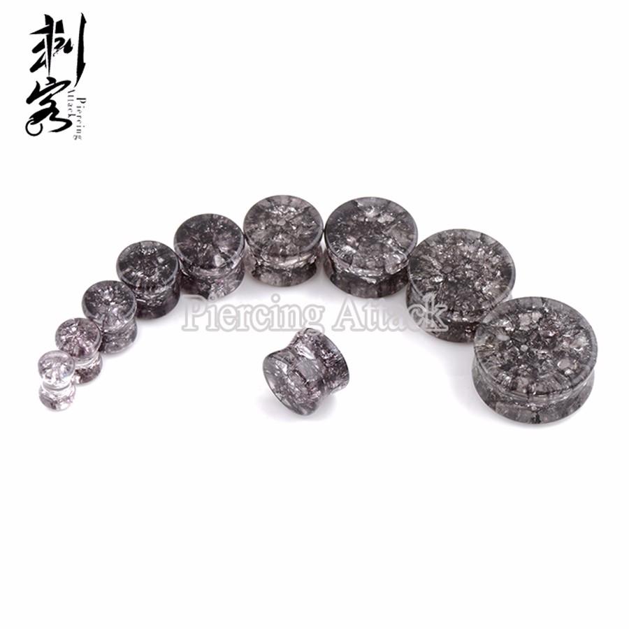 1 Pair Solid Argenon Opalite Stone Saddle Plug Polished Organic Double Flare