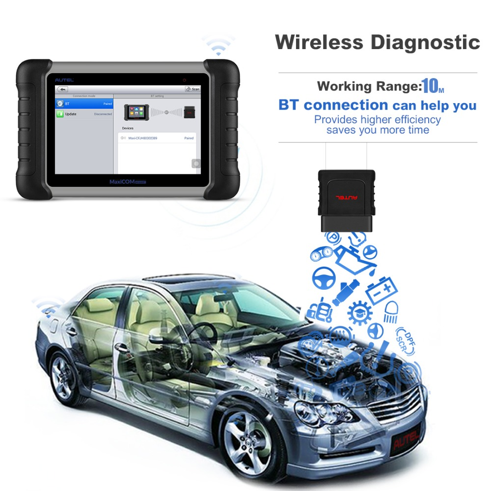 100 Original Autel MK808BT OBD2 Scanne Car Diagnostic Tool Functions of EPB IMMO DPF SAS TMPS Better than launch x431