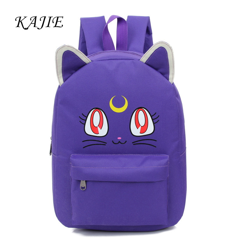 Hot Sale Korean Cute Women Cartoon Cat Ear Sailor Moon Backpacks Fashion School Bag Women's Travel Mochila Rucksacks For Girls
