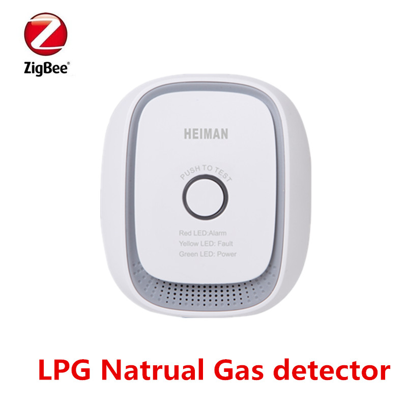 Heiman zigbee 3.0 detector de alarme gás natural inteligente, gás de carvão, gpl sensor de vazamento de gás combustível funciona com smartthing