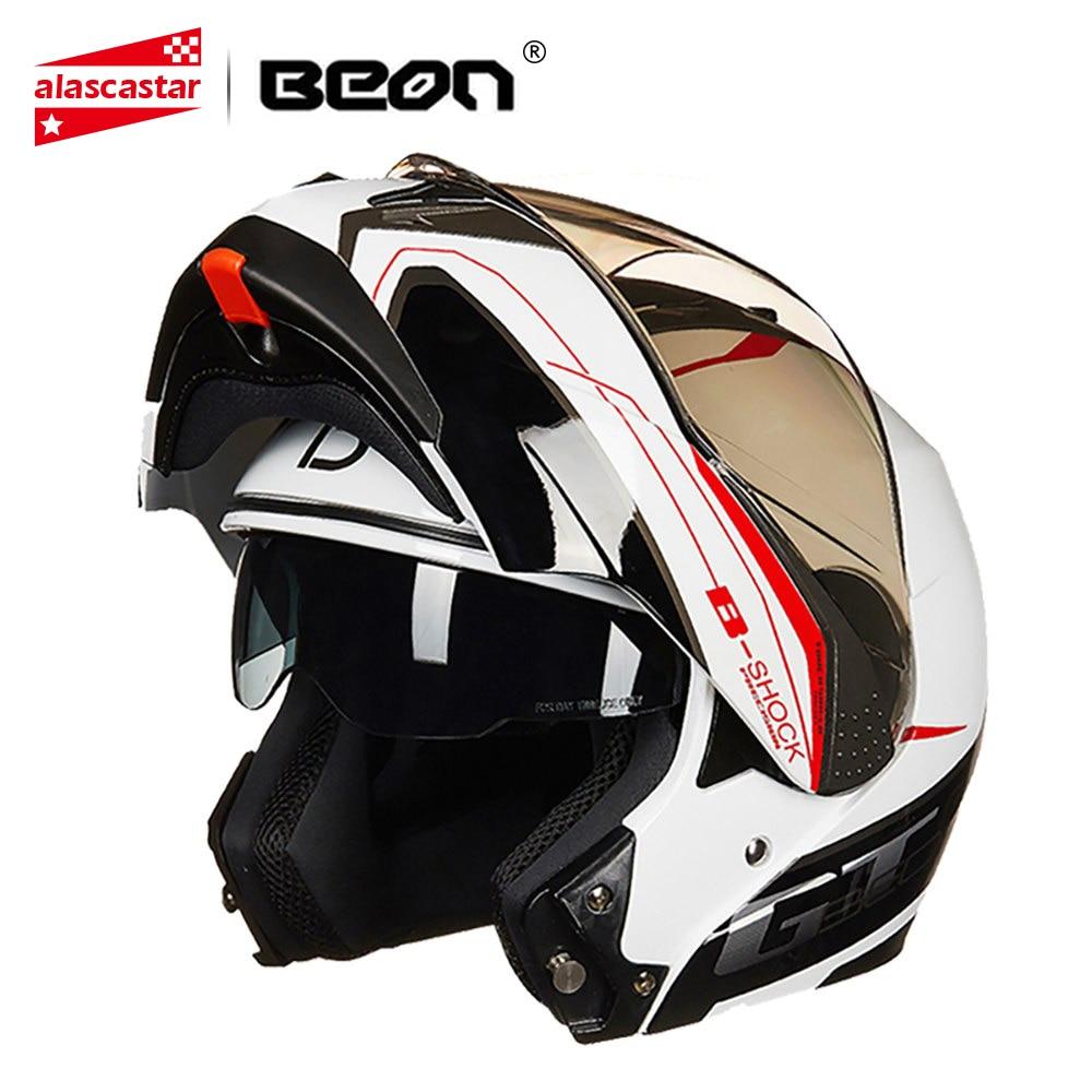 BEON Casco Del Motociclo del Fronte Casco Moto Filp Up Capacete Moto Doppia Visiera Pieno Viso Da Corsa Motocross Moto Casco Per Gli Uomini Le Donne