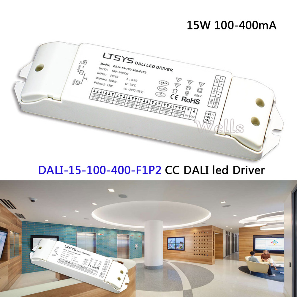 LTECH CC DALI led Driver(1-10V) power;DALI-15-100-400-F1P2;AC100-240V input; 15W 100-400mA DALI CC dimming Driver dali 16 1 16б