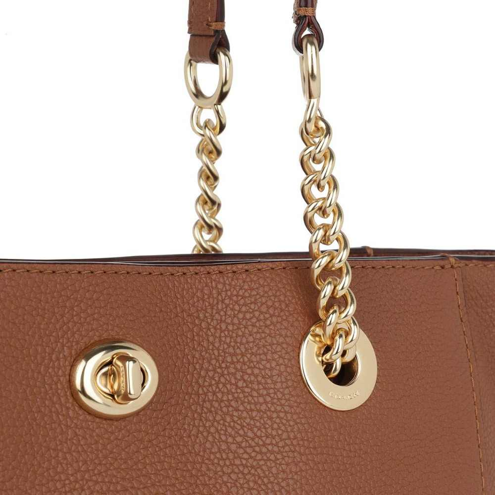 dcb2ed7a79cc ... Coach Turnlock Chain Tote 27 in Polished Pebble Leather (1941  Saddle Gold) Luxury ...