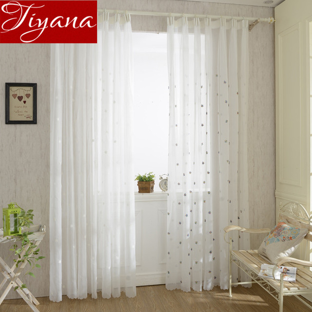 Snowflake Curtains Kids Room White Embroidered Voile Modern Window Living Tulle Sheer Fabrics Cortinas T 399 20