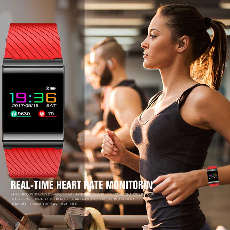 สร้อยข้อมือสมาร์ทนาฬิกาความดันโลหิตออกซิเจน Heart Rate Detection หน้าจอสี OLED กีฬานาฬิกาฟิตเนส tracker Pedometer