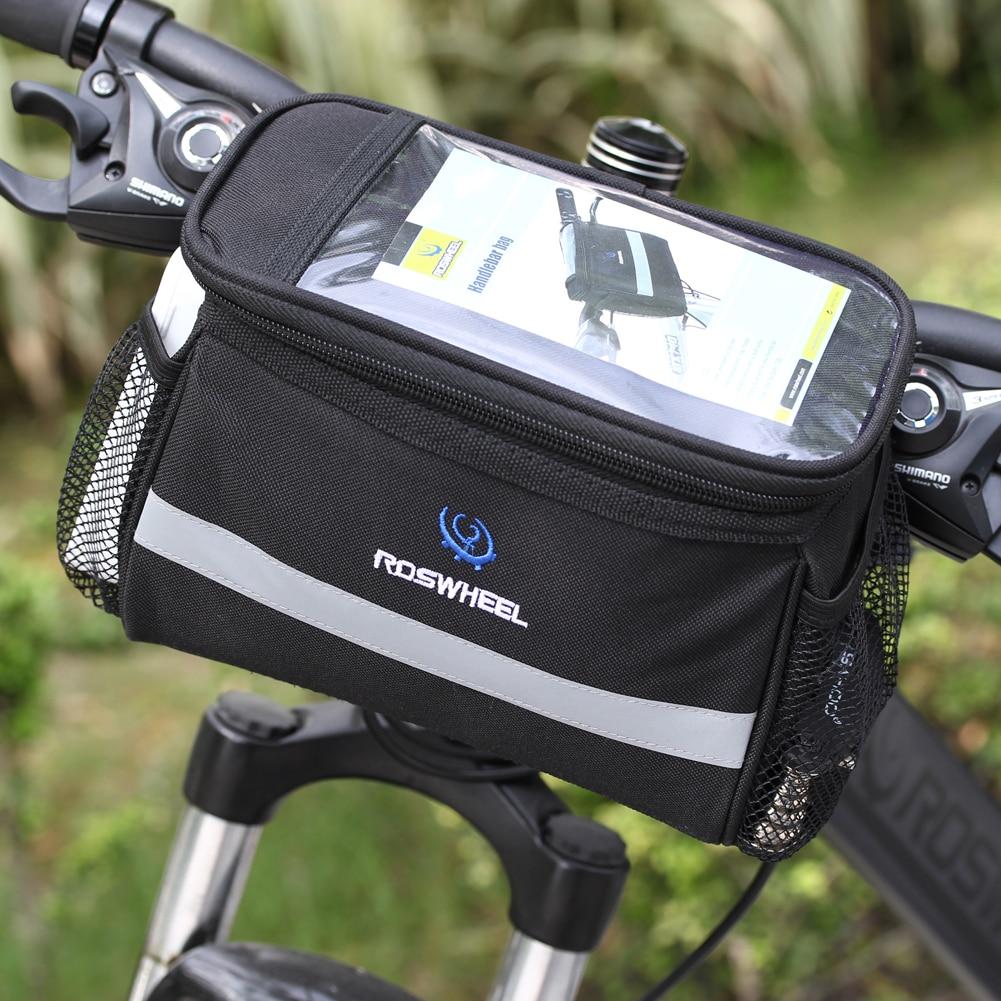 Fekete kerékpár kerékpár táska elülső levehető hővédelem összehajtható kerékpáros fogantyú táskák telefonpalack kerékpár tartozékok
