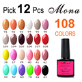 12pcs/lot,10ml Mona Gorgeous Shining Gel 108 Colors, Soak Off UV&LED Nail Gel Polish Long Lasting Shining Effect#A16810