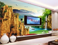Custom Mural Photo 3d Wall Paper Mountain Waterfall Lake Fairyland Room Decor Painting 3d Wall Murals