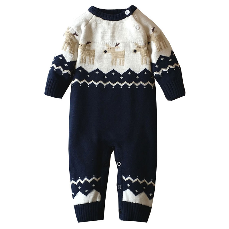 2017 Baby Clothes Winter Baby Rompers Overalls for Newborn Baby Girl Boy Romper Costume Baby Christmas Long Sleeve Deer Sweater summer newborn baby rompers ruffle baby girl clothes princess baby girls romper with headband costume overalls baby clothes