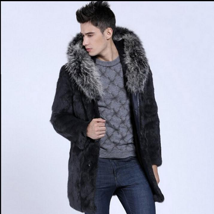 Single Breasted Winter Long Herre Hooded Overcoats Faux Fur Jackets - Herretøj - Foto 1
