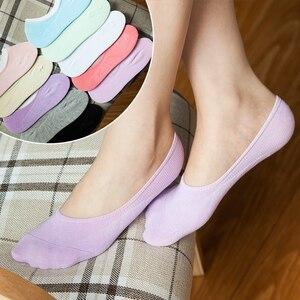 3Pairs Low Cut Invisible Socks Summer For Women Slippers Women Boat Socks Short Thin Meias Female Anti-Slip Cute Socks Slipper