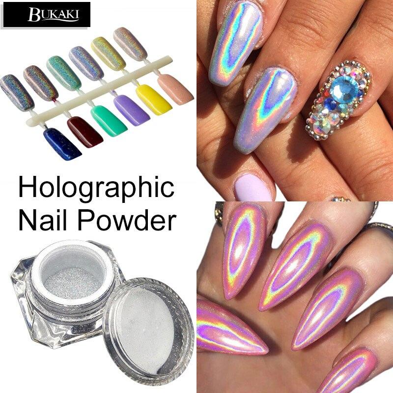 Chrome Nail Powder Gel: BUKAKI 1 Box 3D Rainbow Pigment Chrome Nail Powder Nail