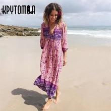 Boho Vintage Ethnic Floral Printed Maxi Dress Women 2018 New Fashion Lantern Sleeve Summer Beach Dresses Casual Femme Vestidos
