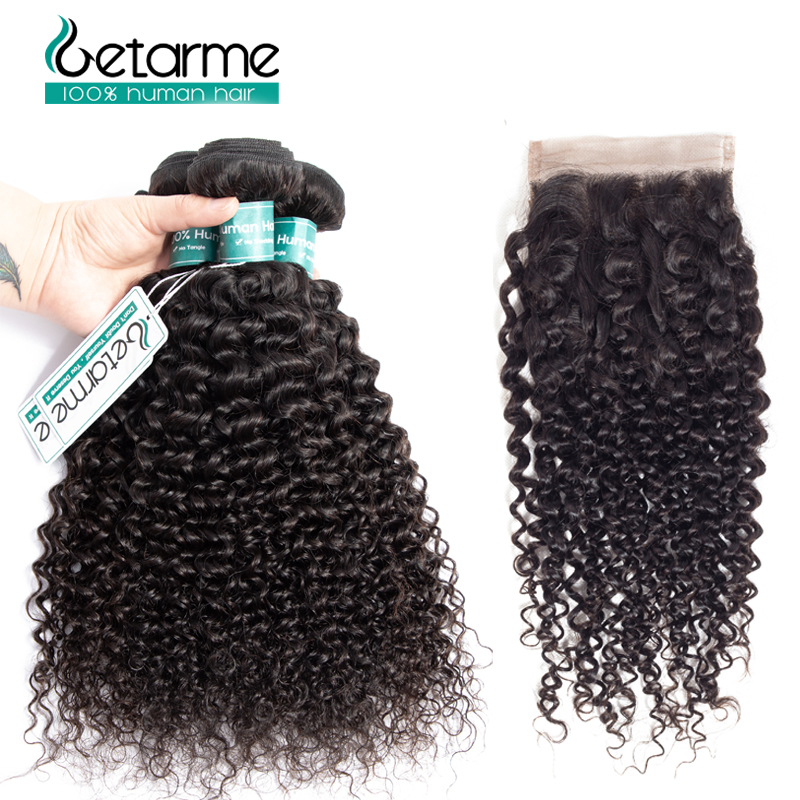Getarme Mongolian Human Hair Bundles With Closure Non Remy 3 Bundles Afro Kinky Curly Hair With