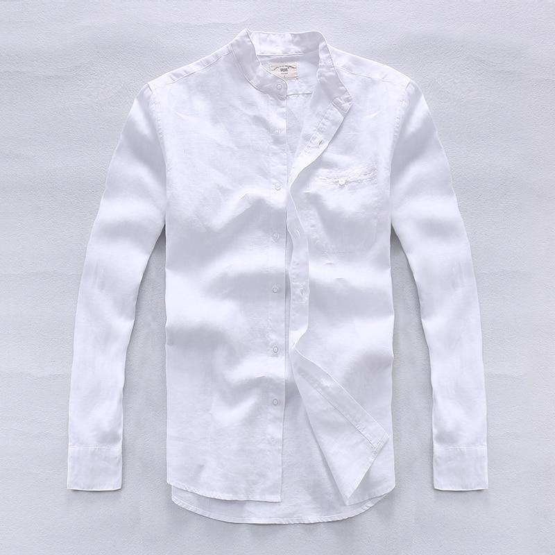 Camisa masculina Nefes 100% keten Gömlek Erkekler Uzun Kollu Marka - Erkek Giyim