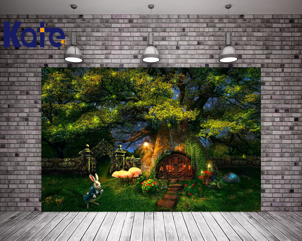 10x10FT Kate Children Fairy Tale Photography Backgrounds Forest Rabbit Light Backdrops Printed Photography Backdrops vinyl photography background fairy tale
