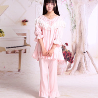 2019 New Arrival New Brocade Garden Originally Dressed Lolita Girls Home Dresses Cotton Lace Pajama Suit For Spring And Autumn