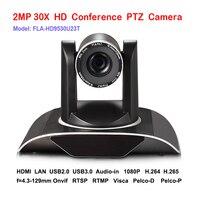 2MP 30x 1080P60fps Câmera de Áudio e Vídeo Conferência PTZ Rede IP HDMI USB RTMP RTSP ONVIF Plug and Play