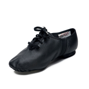 Image 2 - Sansha Unisex Lace up Jazz Shoes Leather With Neoprene Suede Split sole Cushioned Heel Women Men Jazz Salsa Dance Shoes JS2LPI
