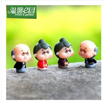 2 PCs Moss micro-landscape jewelry trumpet grandfather grandmother and son old doll combination DIY assembly image