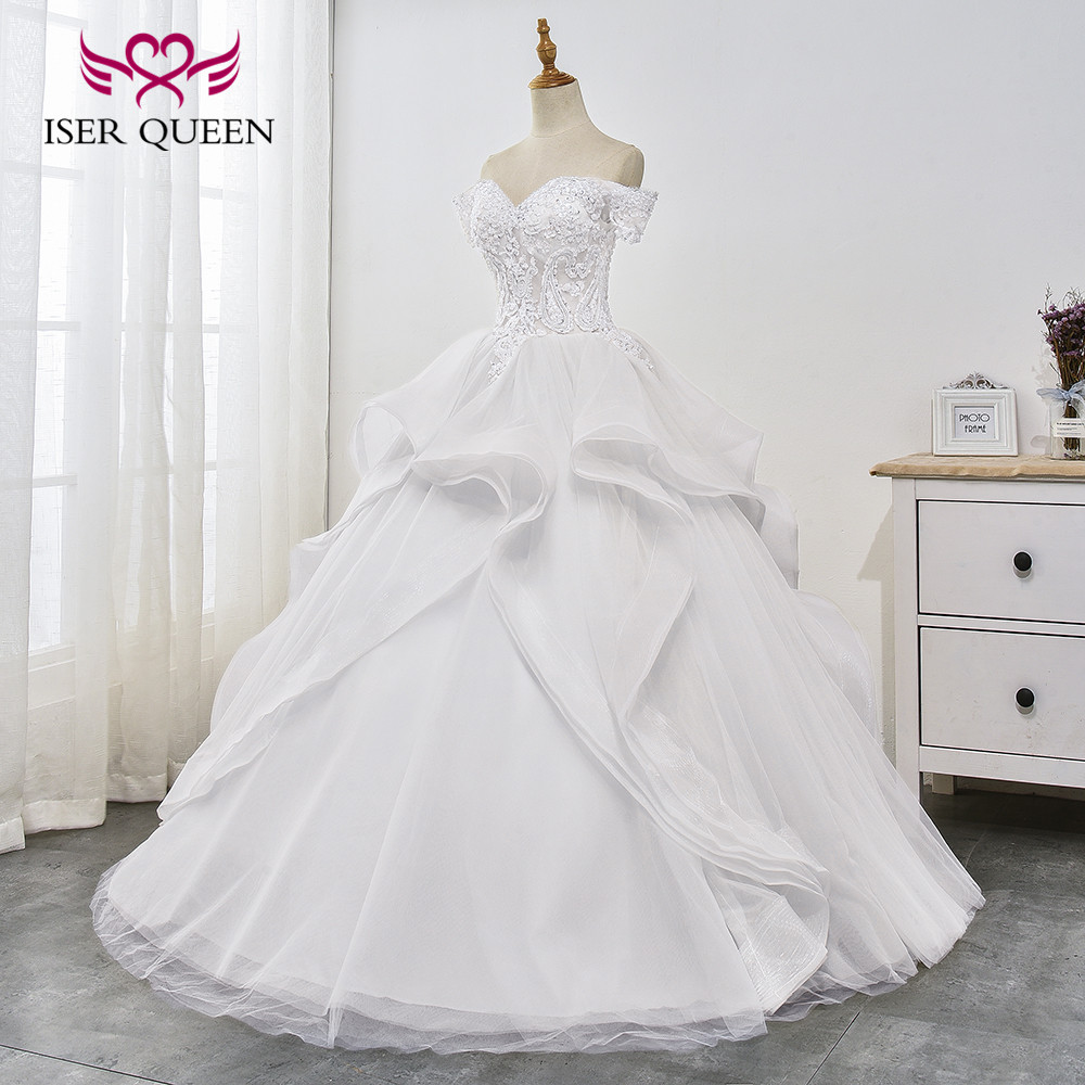 Crystal Sequined and Beading Fantastic Appliques Ruffles Train Cap Sleeves Ball Gown Pure White Bridal Dresses Vestido WX0030