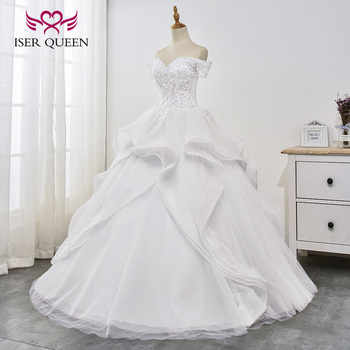 Crystal Sequined and Beading Fantastic Appliques Ruffles Train Cap Sleeves Ball Gown Pure White Bridal Dresses Vestido WX0030 - DISCOUNT ITEM  33% OFF All Category