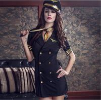 Uniform Temptation!Sexy Lingerie Airline Stewardess Uniforms Stretch Slim Tights Temptation Lenceria Erotica Erotic Lingerie
