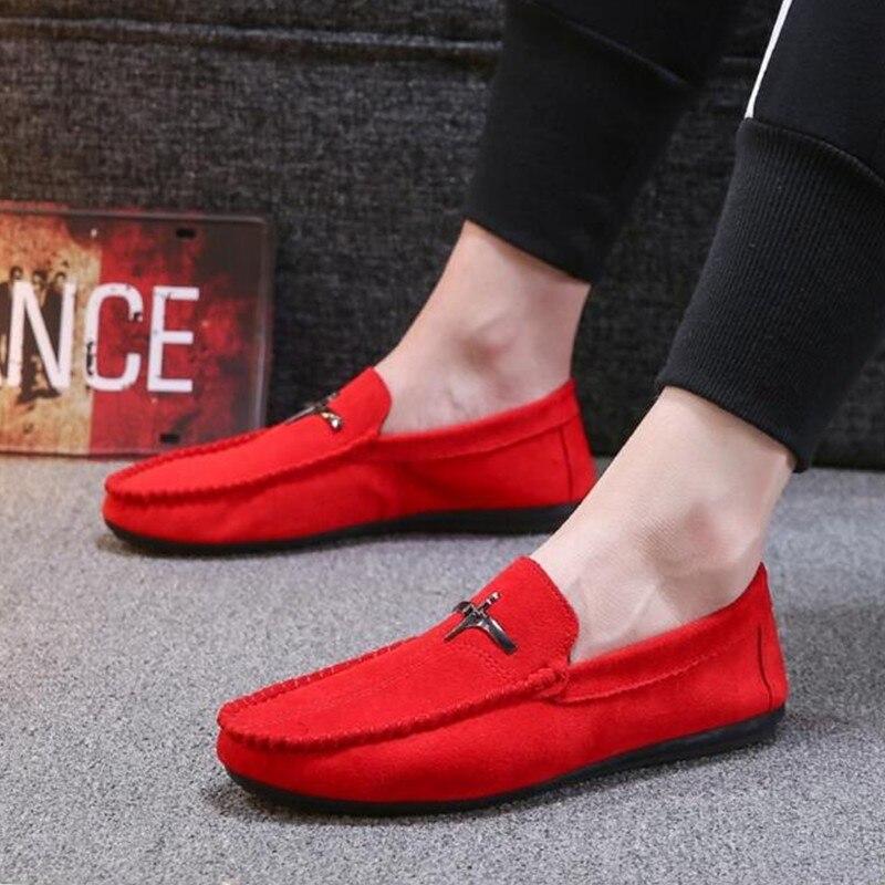2019 Zapatos Holgazán on Hombres Planos Vintage De Los Mocasines Nuevos red Black Slip Moda Ocasionales gray Conducción Negro Estilo rnqIxrB