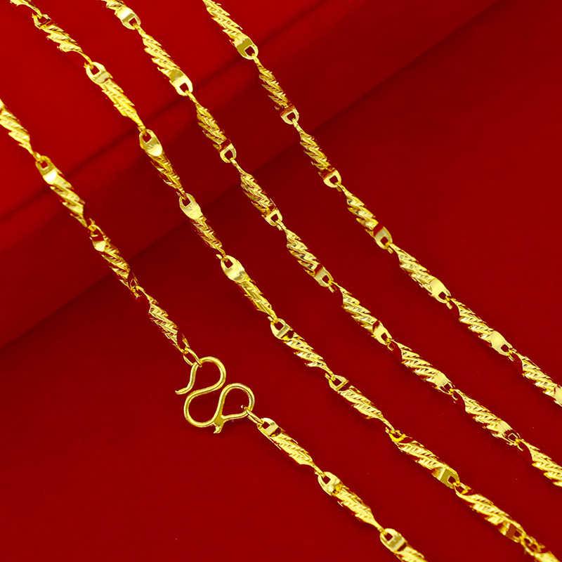 Żółty złoty kolor naszyjniki dla kobiet mężczyzn 2.5mm długi łańcuch naszyjnik Collier Choker ślubna dla nowożeńców Retro biżuteria Bijoux