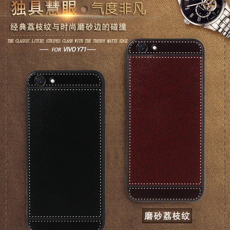 Vivo Y71 случае 3D рельеф роскошные кожаные силиконовая кожа мягкая задняя крышка для BBK естественных Y71 6,0 inch ультра тонкий тонкий телефон случа...