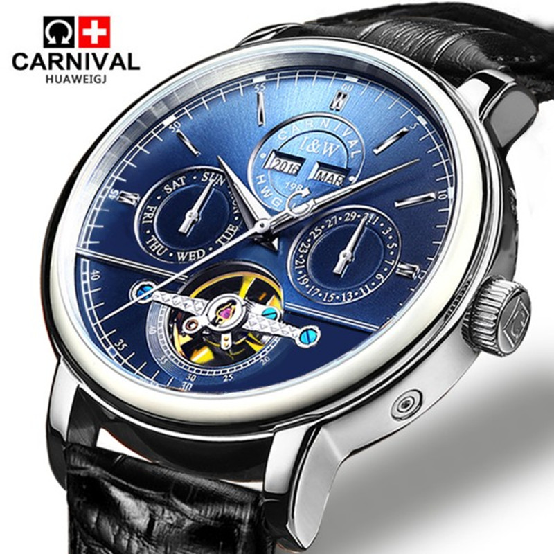Tourbillon Mens Watches Šveits Carnival Luxury brändi veekindel automaatne mehaaniline Watch nahast rihm montre homme uhren